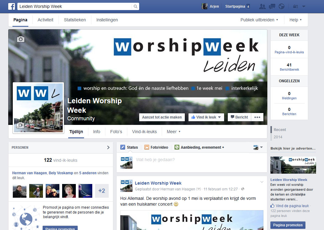 Facebook-visuals voor Worship Week Leiden