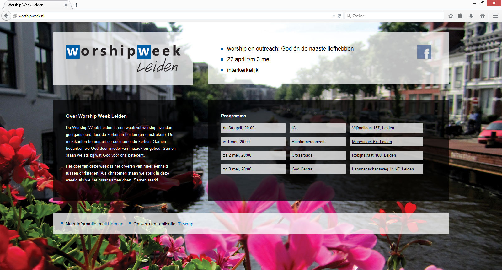 Worship Week Leiden website